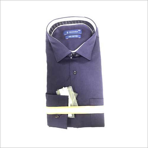 Mens Blue Formal Plain Shirt
