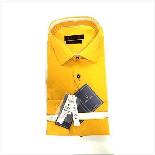 Mens Yellow Formal Plain Shirt