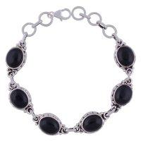 Black Onyx Natural Gemstone 925 Sterling Solid Silver Oval Cabochon Handmade Bracelet