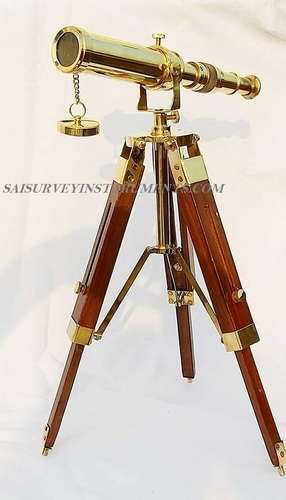Antique Handmade 10 inch Brass Telescope with Wood Tripod Stand