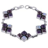 Amethyst/rainbow/garnet Natural Gemstone 925 Sterling Solid Silver Square Cabochon Handmade Bracelet