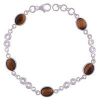 Tiger Eye Natural Gemstone 925 Sterling Solid Silver Oval Cabochon Handmade Bracelet