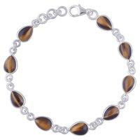 Tiger Eye Natural Gemstone 925 Sterling Solid Silver Pear Cabochon Handmade Bracelet