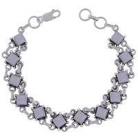Amethyst Natural Gemstone 925 Sterling Solid Silver Square Cabochon Handmade Bracelet