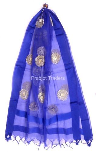 Blue Benarasi Dupatta with Embroidery Work