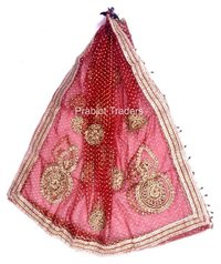 Dark Red Bridal Dupatta with Embroidery and Lace