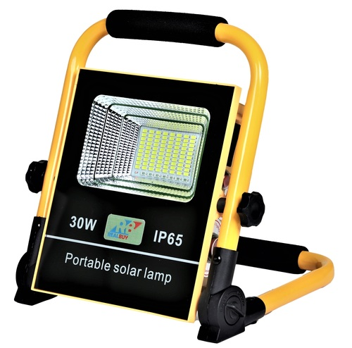 REALBUY Rechargeable Solar LED Flood Light 30W with 5000 mAh LiFePO4 Battery (IP 65)
