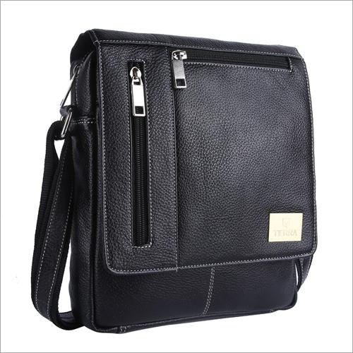 Black Color Leather Sling Bag