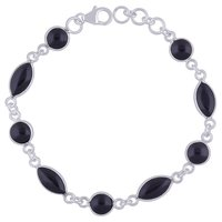 Black Onyx Natural Gemstone 925 Sterling Solid Silver Round/Marquise Cabochon Handmade Bracelet
