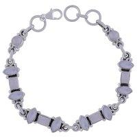 Garnet Natural Gemstone 925 Sterling Solid Silver Marquise/Rectangle Cabochon Handmade Bracelet