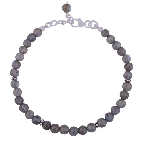 Labradorite Natural Gemstone Beads 925 Sterling Solid Silver Beads Cabochon Handmade Bracelet