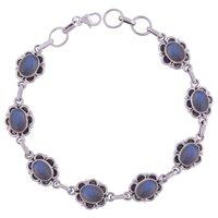 Garnet Natural Gemstone 925 Sterling Solid Silver Oval Cabochon Handmade Bracelet