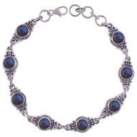 Lapis Natural Gemstone 925 Sterling Solid Silver Round Cabochon Handmade Bracelet