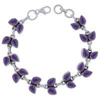 Rainbow Natural Gemstone 925 Sterling Solid Silver Pear Cabochon Handmade Bracelet