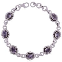 Amethyst Natural Gemstone 925 Sterling Solid Silver Oval Cut Stone Handmade Bracelet