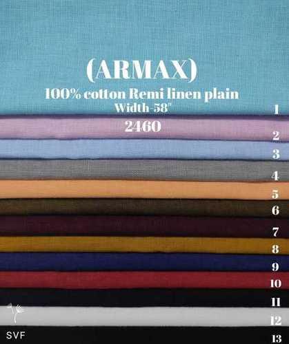 Armax 100% cotton remi linen plain shirting fabric