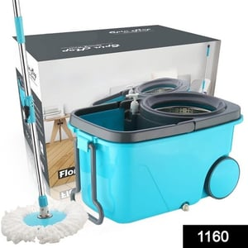 1160 Heavy Duty Microfiber Spin Mop With Plastic Bucket (Multicolour)
