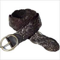 Mens Dark Brown Braided Belt