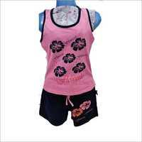 Girls Printed Shorts Night Suit Set
