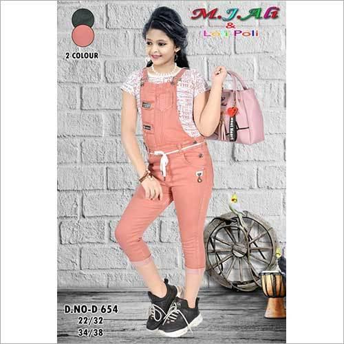 Girls Denim Pink Dangri