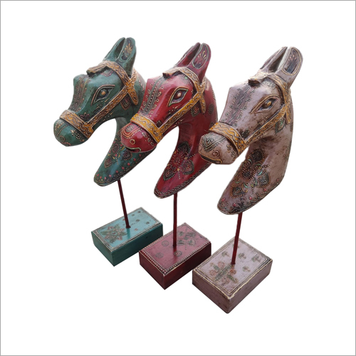 Antique Polished Wooden Horse Head With Stand