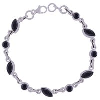 AMETHYST NATURAL GEMSTONE 925 STERLING SOLID SILVER ROUND/MARQUISE CUT STONE HANDMADE BRACELET