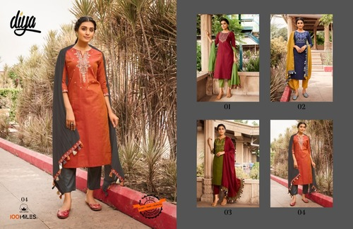 100 Miles Blue Hills Embroidered Cotton Kurti with pant and dupatta