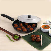 Nirlon Non-Stick 12 Cavity Appam Patra Single Handle With Stainless Steel Lid