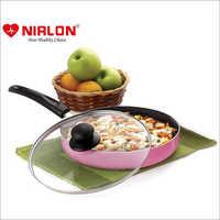 Nirlon Orchid Granite Non Stick Aluminium Non Induction Fry Pan with Glass Lid 24cm
