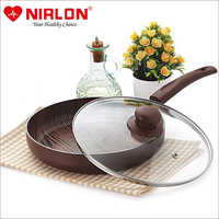 Nirlon Non Stick Aluminium Non Induction Woody Fry Pan with Glass Lid