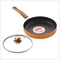 Nirlon Kitchen Non Stick Aluminium Orange Flamy Fry Pan with Glass Lid