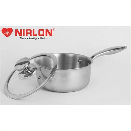 16cm Nirlon Platinum Triply Stainless Steel Saucepan With Glass Lid