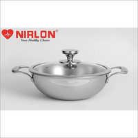 20cm Nirlon Platinum Triply Stainless Steel Deep Kadai with Glass Lid
