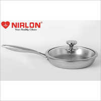 22 Cm Nirlon Platinum Tri-Ply Stainless Steel Frying Pan With Glass Lid