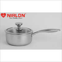 18cm Nirlon Platinum Triply Stainless Steel Induction Base Sauce Pan With Glass Lid