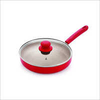 Nirlon Non Stick Fry Pan Red Stone Induction Base (With Glass LiD)