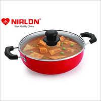 Nirlon Aluminium Non-Stick Ruby Kadai with Glass Lid