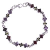 MULTIPLE NATURAL GEMSTONES 925 STERLING SOLID SILVER SQUARE/MARQUISE CUT STONE HANDMADE BRACELET