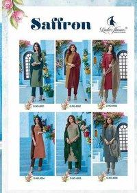 Saffron By Ladies Flavour Viscose Slik Kurti With Pant Dupatta Collection