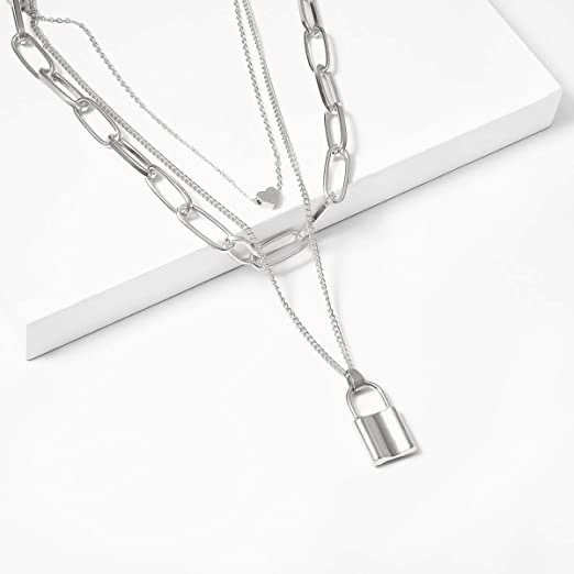 Vembley Gorgeous Silver Triple Layered Heart and Lock Pendant Necklace for Women and Girls