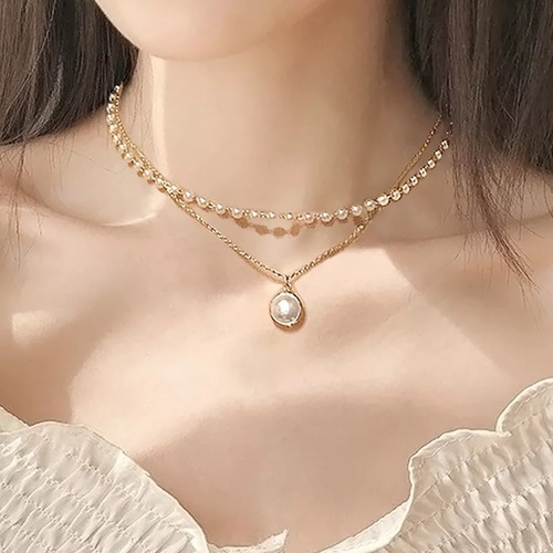 Vembley Charming Gold Plated Pearl Double Layered Pendant Necklace for Women and Girls