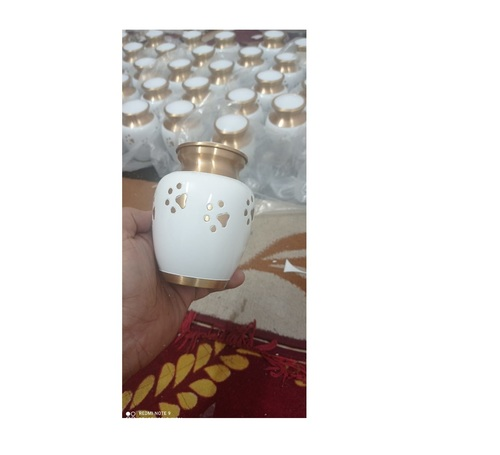BRASS ODYSSEY WHITE WITH GOLDEN PAW URN FUNERAL SUPPLIES