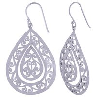 HANDCARFTED FLIGREE PLAIN 925 STERLING SOLID SILVER EARRINGS