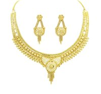 Traditional Gold Plated Forming Choker Necklace With Earring jewellery Set