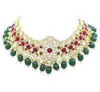 Gold Tone Kundan Pearl Choker Necklace Earring Jewellery Set