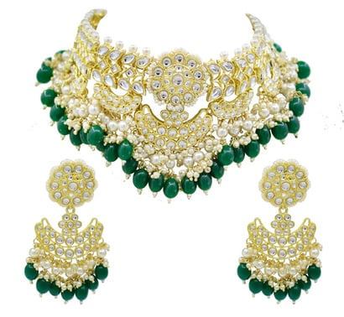 Glorious Design Green Color Kundan Gold Plated Choker Necklace Set Drop Earrings