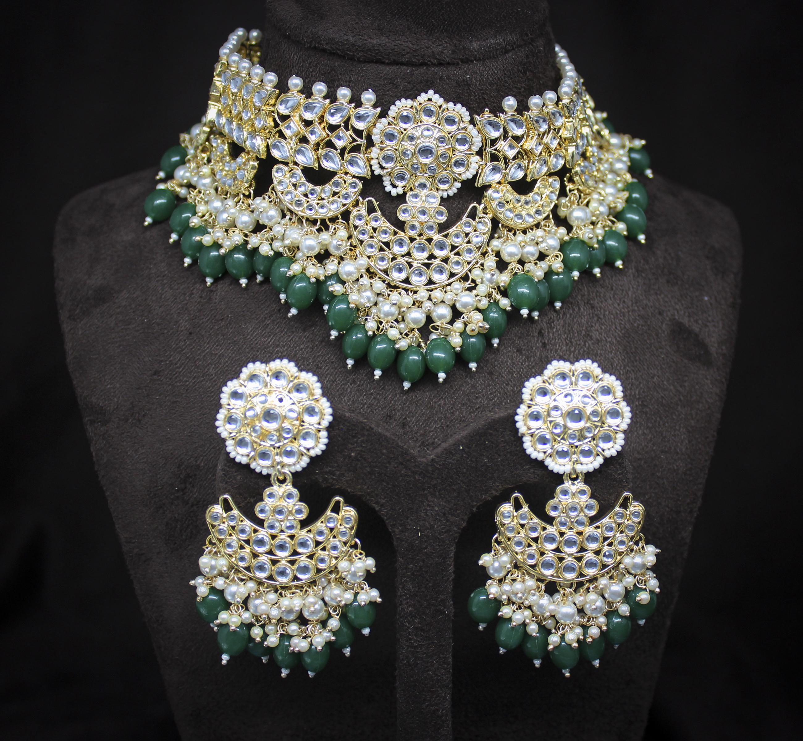 Glorious Design Green Color Kundan Gold Plated Choker Necklace Set