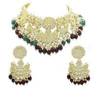 Ethnic party wear Design Kundan Choker Necklace With Earring Jewellery Set