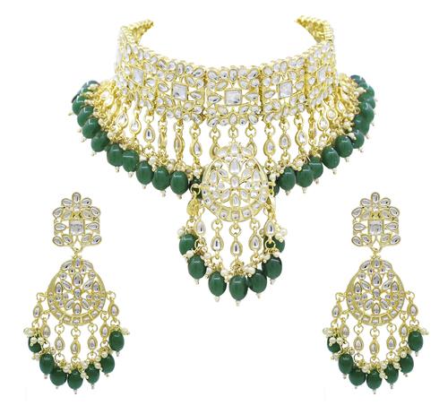 Trendy Kundan Green Color Wedding Jewellery choker necklace and Earring Jewellery Set