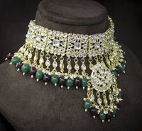 Trendy Kundan Multi Color Gold Plated Wedding Jewellery Choker Necklace And Earring Set